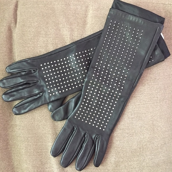 Neiman Marcus Accessories - Black Studded Leather Gloves Brian Atwood